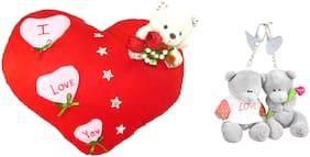 I Love You Heart Cushion and Love Couple Teddy Keychain
