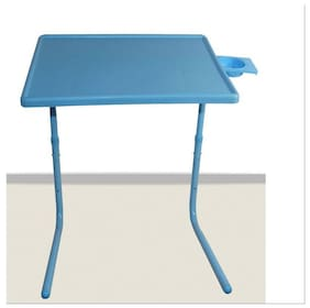 IBS Tablemate Light Blue Adjustable Folding Table With Cupholder
