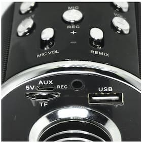 IBS Karaoke Portable Wireless Singing Bluetooth Recording Mic Party Speaker 4 KTV Black Memory card slot Fm radio usb Microphone (Black)