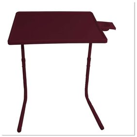 IBS Tablemate Brown Adjustable Folding Table With Cupholder