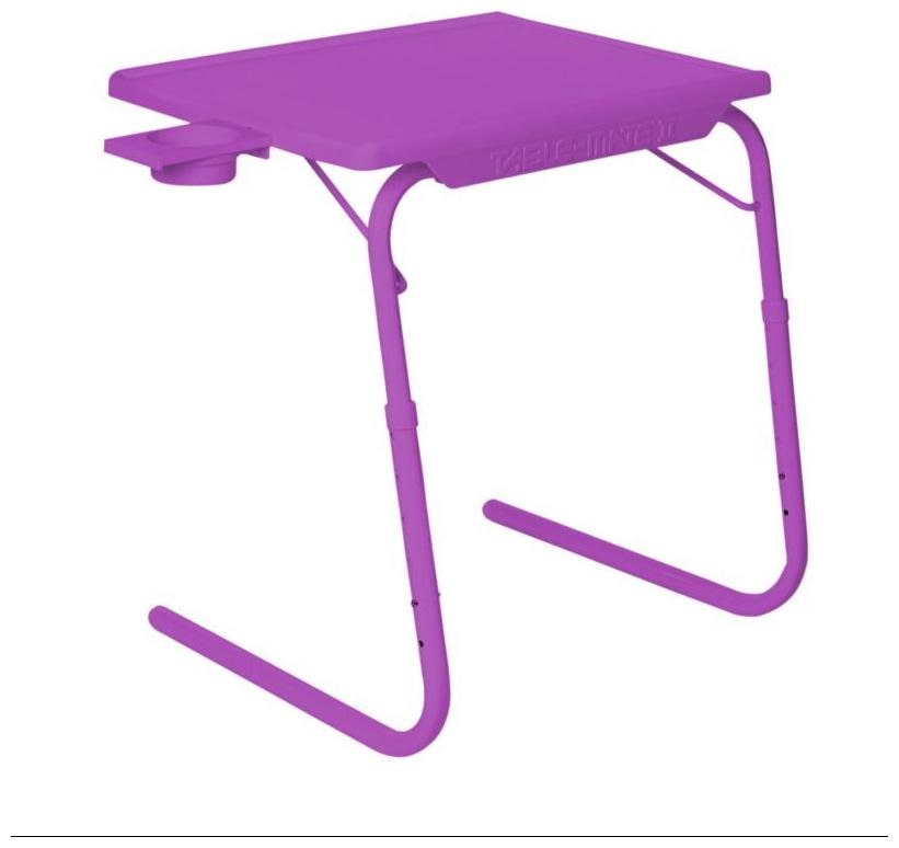 IBS Tablemate Voilet Adjustable Folding Table With Cupholder