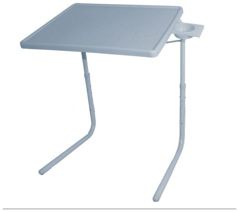 IBS Tablemate Grey Adjustable Folding Table With Cupholder