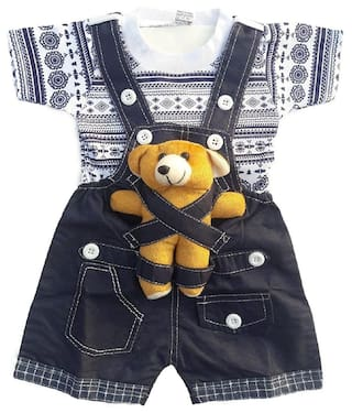 c23ea73c9 Icable Baby Boys Baby Girls Kids High Quality Soft Denim Dungaree Set With  T-Shirt