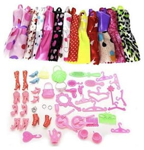 iDream 10pcs Doll Dress & 50pcs Doll Accessories (Combo Pack) for Standard Size Doll