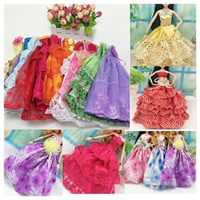 iDream Beautiful Elegant Handmade Party Weeding Gown Dress Fashion Cloth for Doll (Pack of 5)