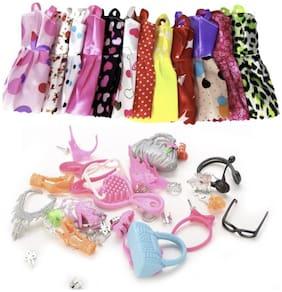 iDream Doll Accessories Combo Pack - 10pcs Doll Dress & 40pcs Accessories