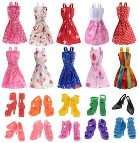 iDream Doll Accessories - 10pcs Doll Dress & 10pair Doll Shoes (Combo Pack) Compatible with Any Doll
