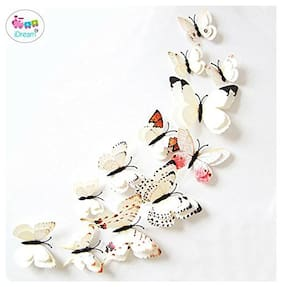 iDream Double Layer 3D Butterfly Fridge Magnets Wall Stickers (White, Pack of 12)