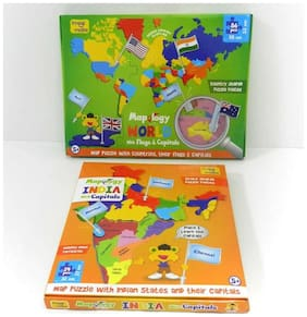 Imagimake: Mapology Map Combo- Map Puzzle Of India, Europe & World- With Flags And Capitals Of Countries