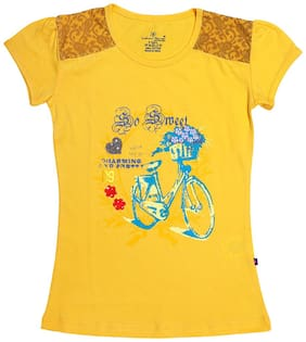 INDIAN FLOWER Girl Cotton Printed Top - Yellow