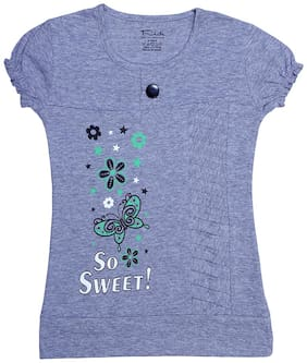 INDIAN FLOWER Girl Cotton Printed Top - Grey