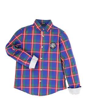 56306e79273 Indian Terrain Boy Cotton Solid Shirt Blue