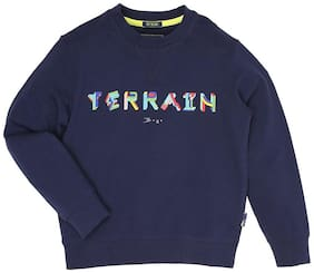 Indian Terrain Boy Cotton Solid Sweatshirt - Blue