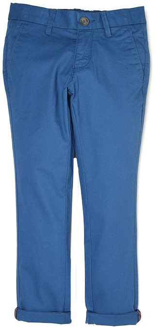 d0192a4de9 Buy Indian Terrain Boy Solid Trousers - Blue Online at Low Prices in ...