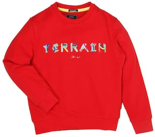 Indian Terrain Boy Cotton Solid Sweatshirt - Red
