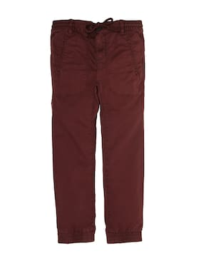 Indian Terrain Boy Solid Trousers - Maroon
