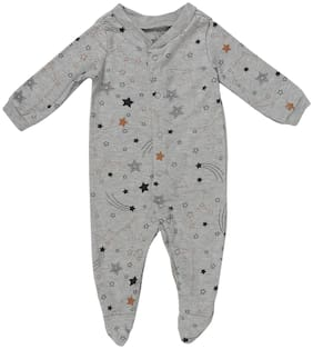 Indirang Unisex Cotton Printed Romper - Grey