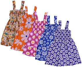 IndiStar Baby girl Cotton Printed Princess frock - Multi