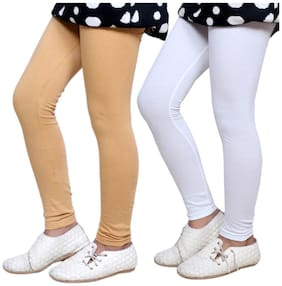 IndiStar Cotton Solid Leggings - Beige