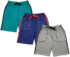 IndiStar Boys Cotton Solid Shorts/Bermuda (Pack of 3) (Multi)