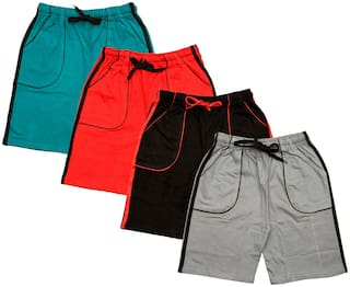 IndiStar Boys Cotton Solid Shorts/Bermuda (Pack of 4) (Multi)
