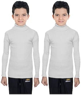 IndiStar Boy Wool Solid Sweater - White