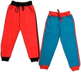 IndiStar Boys Plain Cotton Lowers (Pack of 2)(Blue;Orange)