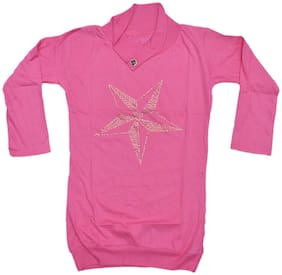 IndiStar Girl Cotton Printed Top - Pink