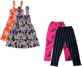 IndiStar Girl Cotton Top & Bottom Set - Multi