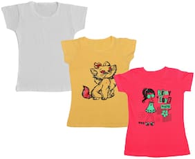 IndiStar Girl Cotton Printed T shirt - Multi