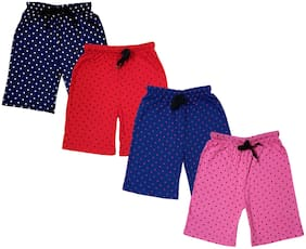 IndiStar Girls Cotton Polka Dots Relaxed Fit Shorts (Pack of 4)