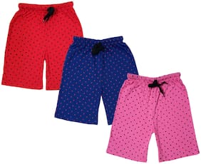 IndiStar Girls Cotton Polka Dots Relaxed Fit Shorts (Pack of 3)