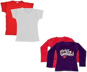 IndiStar Girl Cotton Solid T shirt - Multi