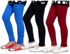 Indistar Girl's Super Soft Cotton Leggings Combo Pack of 3