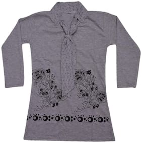 IndiStar Girl Cotton Printed Top - Grey