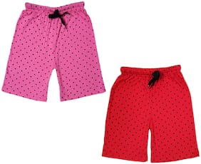 IndiStar Girls Cotton Polka Dots Relaxed Fit Shorts (Pack of 2)