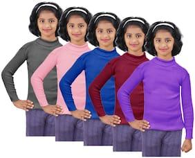 IndiStar Girl Wool Solid Sweater - Multi