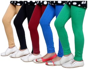 Indistar Girl's Super Soft Cotton Leggings Combo Pack of 5