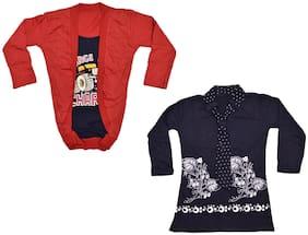 IndiStar Girl Cotton Printed Top - Multi