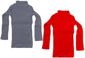 IndiStar Girl Wool Solid Sweater - Red