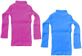IndiStar Girl Wool Solid Sweater - Blue