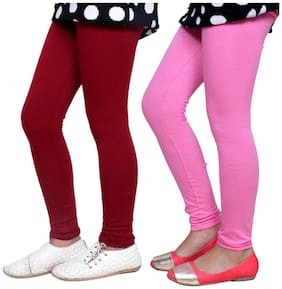 IndiStar Cotton Solid Leggings - Maroon