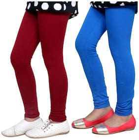 IndiStar Maroon & Blue Super Soft Cotton Leggings (Pack Of 2)