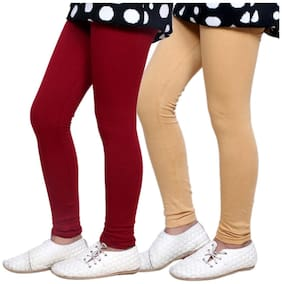 IndiStar Maroon & Beige Super Soft Cotton Leggings (Pack Of 2)