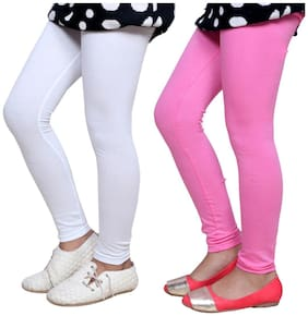 IndiStar White & Pink Super Soft Cotton Leggings (Pack Of 2)