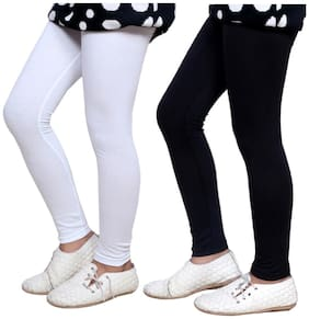IndiStar White & Black Super Soft Cotton Leggings (Pack Of 2)
