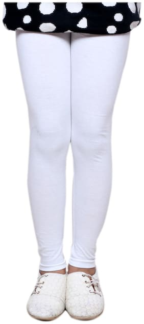 IndiStar Cotton Solid Leggings - White
