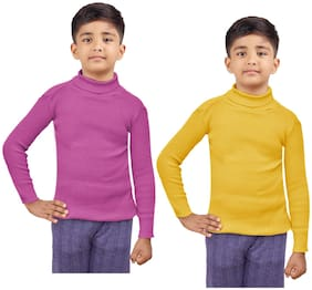Indiweaves Boy Wool Striped Sweater - Pink & Yellow