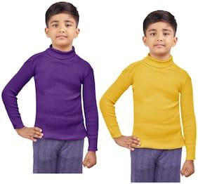 Indiweaves Boy Wool Striped Sweater - Purple & Yellow