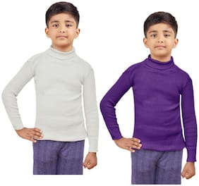 Indiweaves Boy Wool Striped Sweater - White & Purple